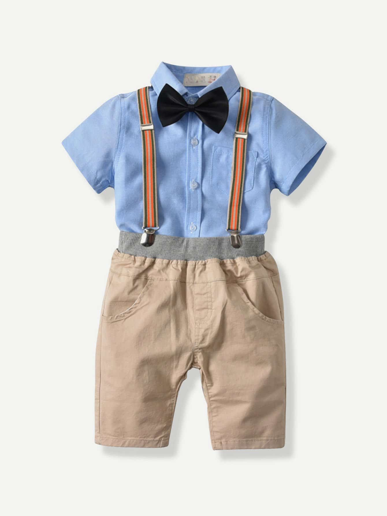Boys Tie Detail Blouse With Overall Shorts
