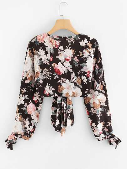 Romwe / Floral Print Knot Hem Top