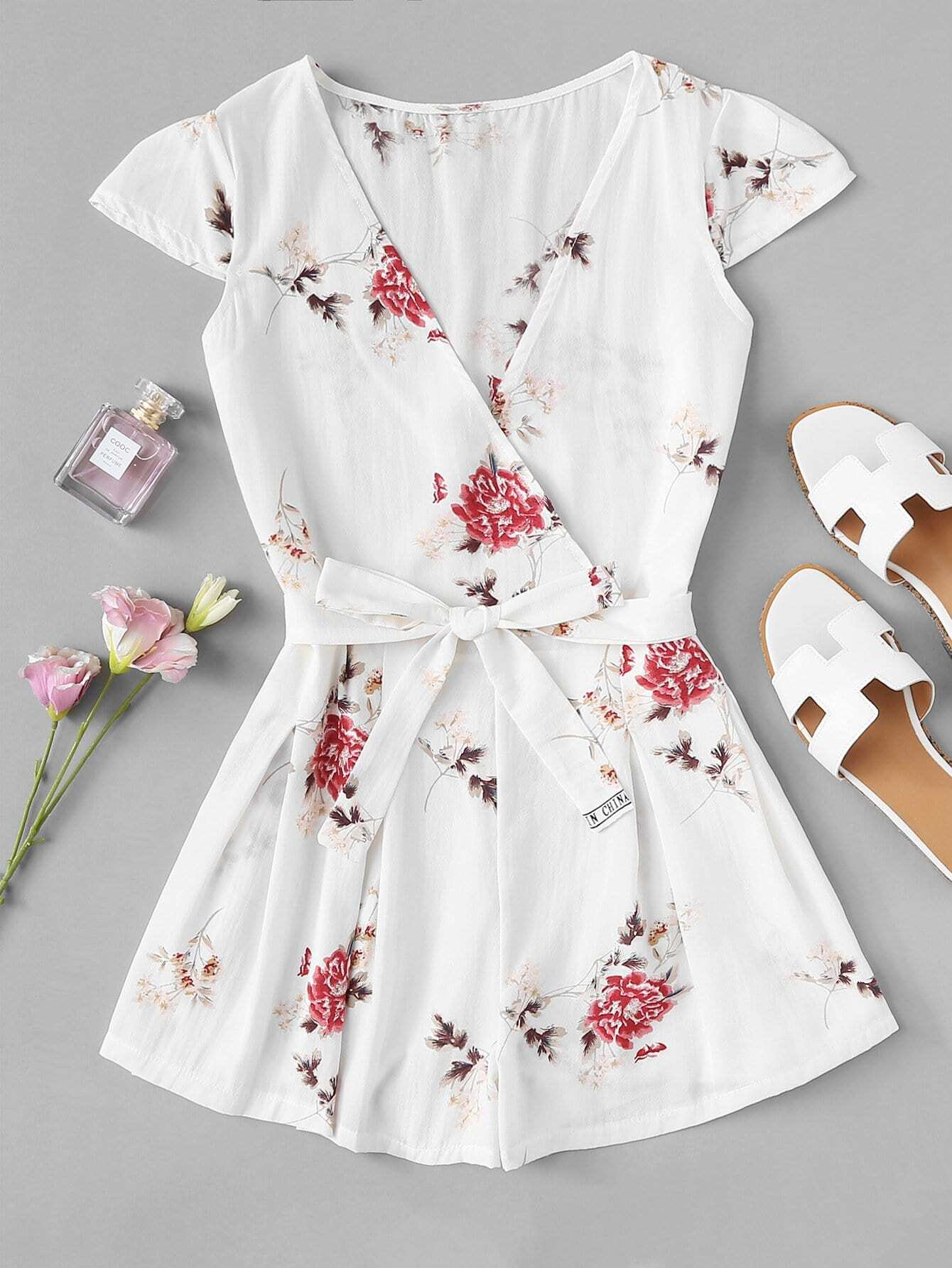 Floral Print Surplice Romper With Belt