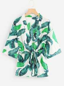 Tropical Print Self Tie Waist Kimono