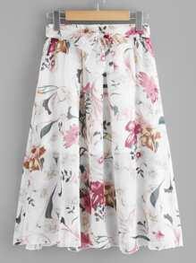 Self Tie Waist Floral Print Skirt
