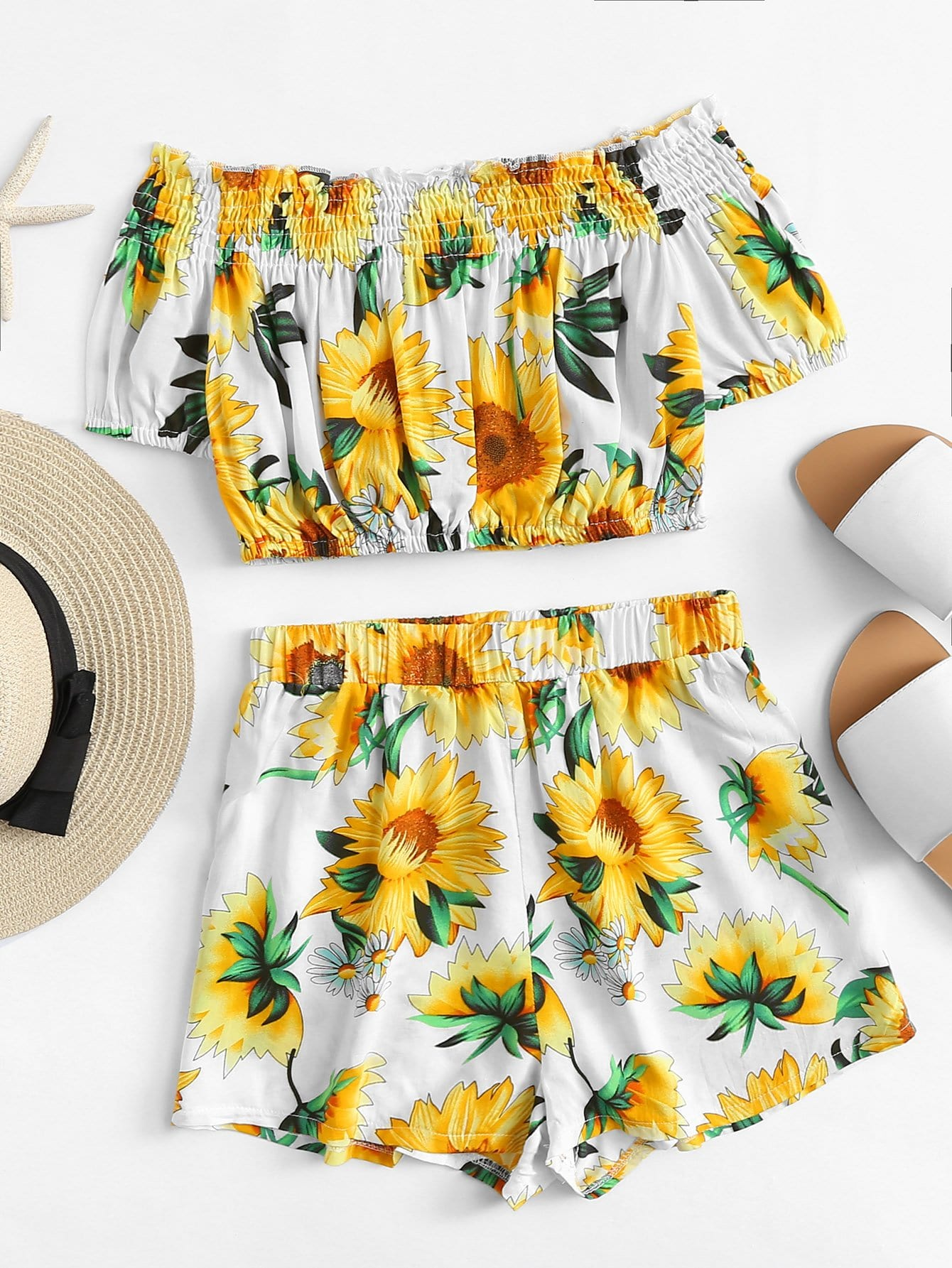 Off Shoulder Sunflower Print Top With Shorts bask simple v2