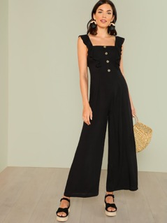 Ruffle Strap Button Front Palazzo Jumpsuit