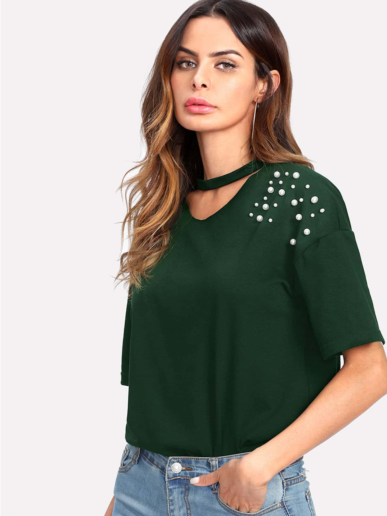 Pearl Beaded Choker Neck Tee pearl beaded ring round neck tee