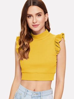 Mock Neck Ruffle Armhole Ribbed Top