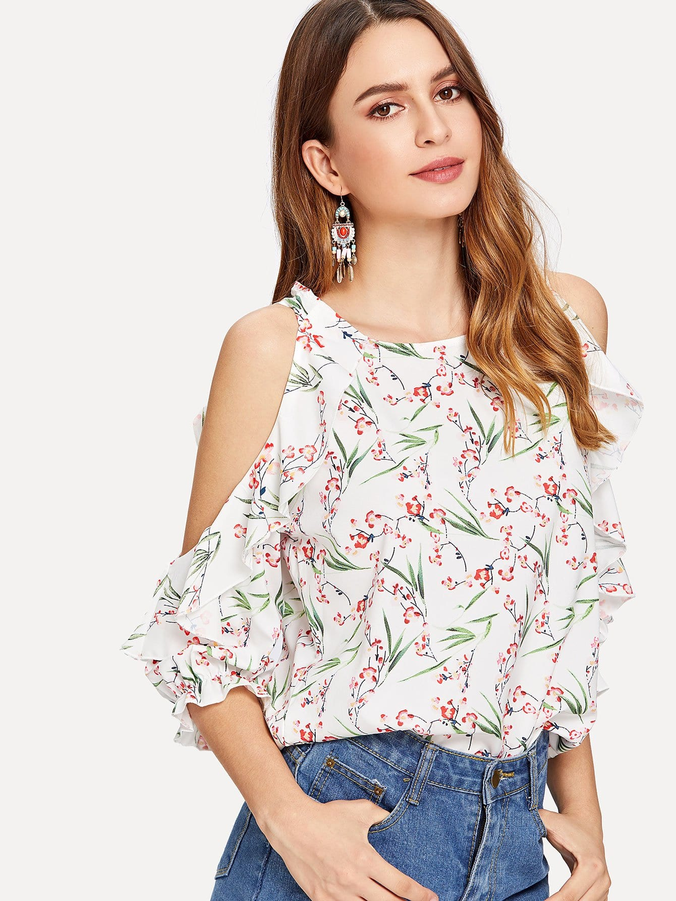 Floral Print Open Shoulder Ruffle Blouse one shoulder floral print blouse