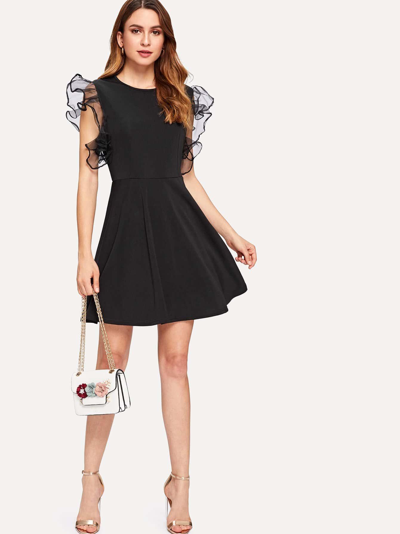 Ruffle Mesh Panel Dress ruffle mesh panel dress