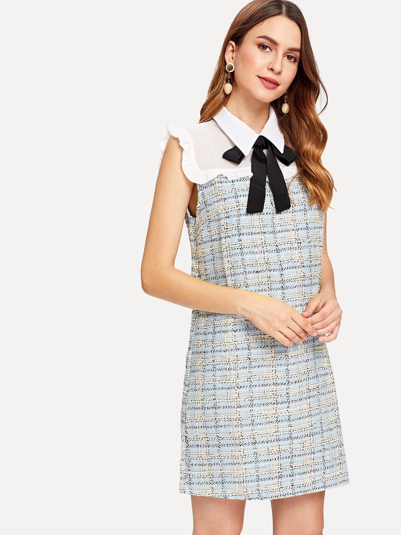 Frill Trim Tie Neck Plaid Dress open shoulder frill trim plaid dress