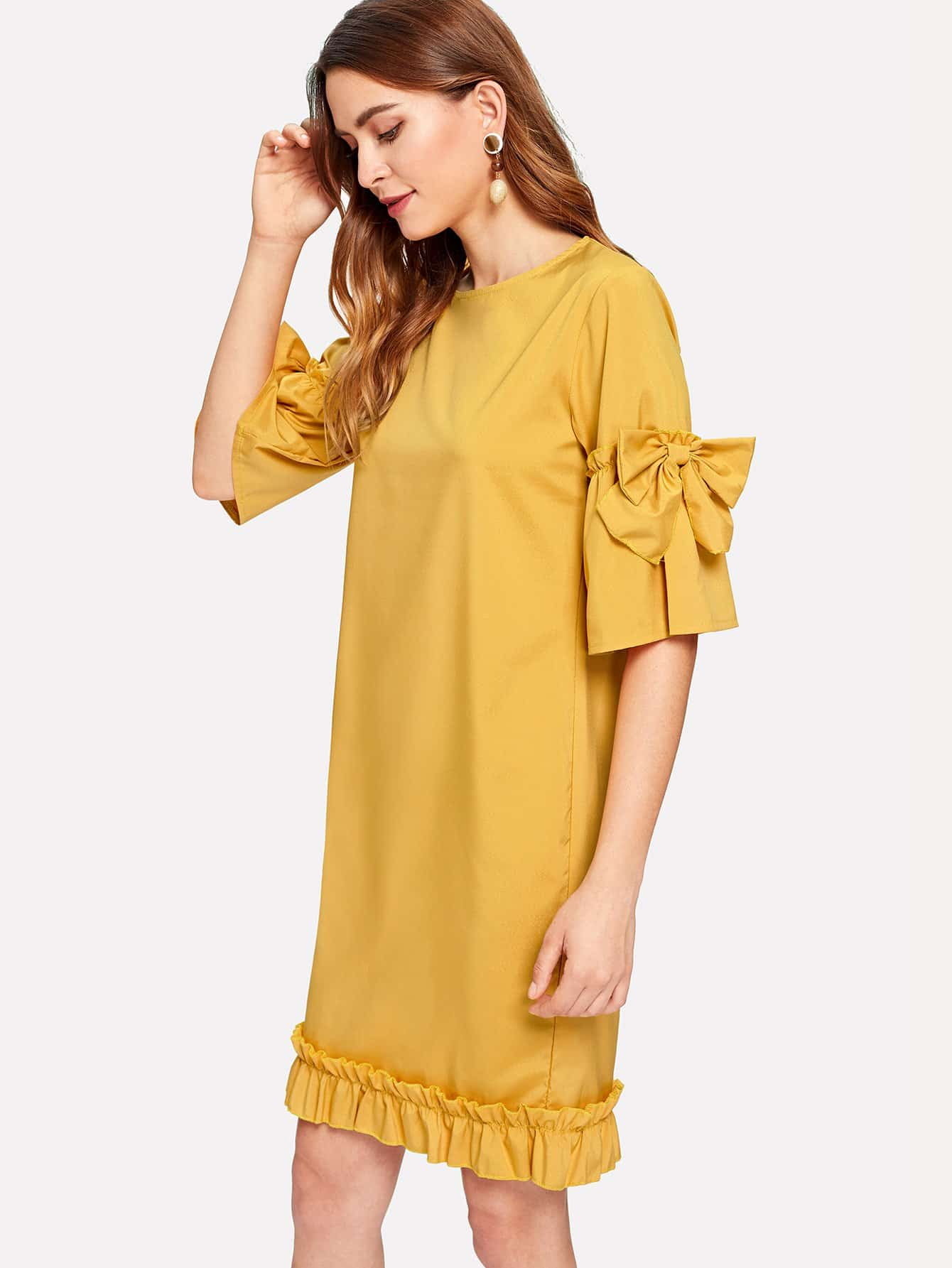 Frill Trim Bow Detail Dress bow detail longline dress