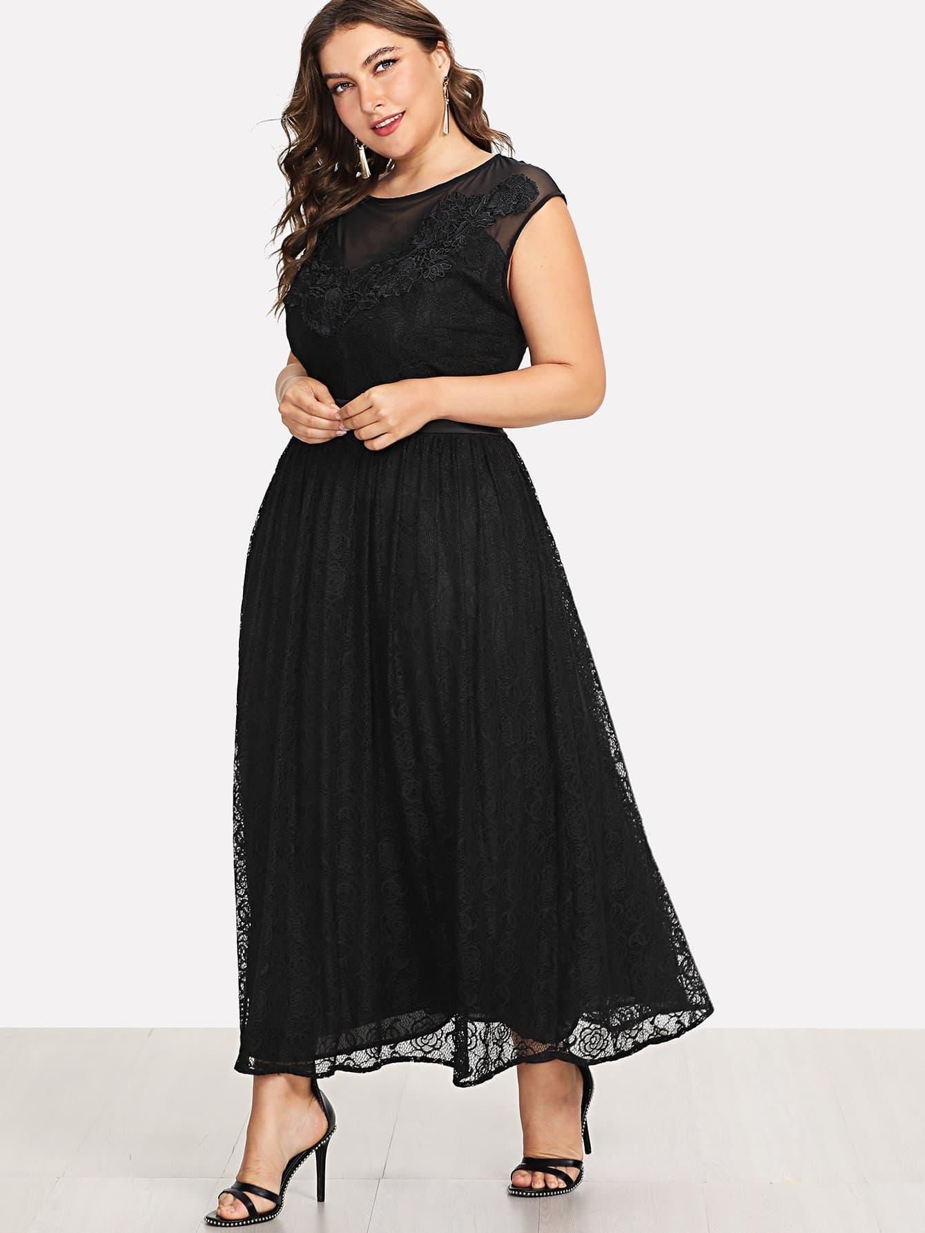 Plus Mesh Panel Lace Dress