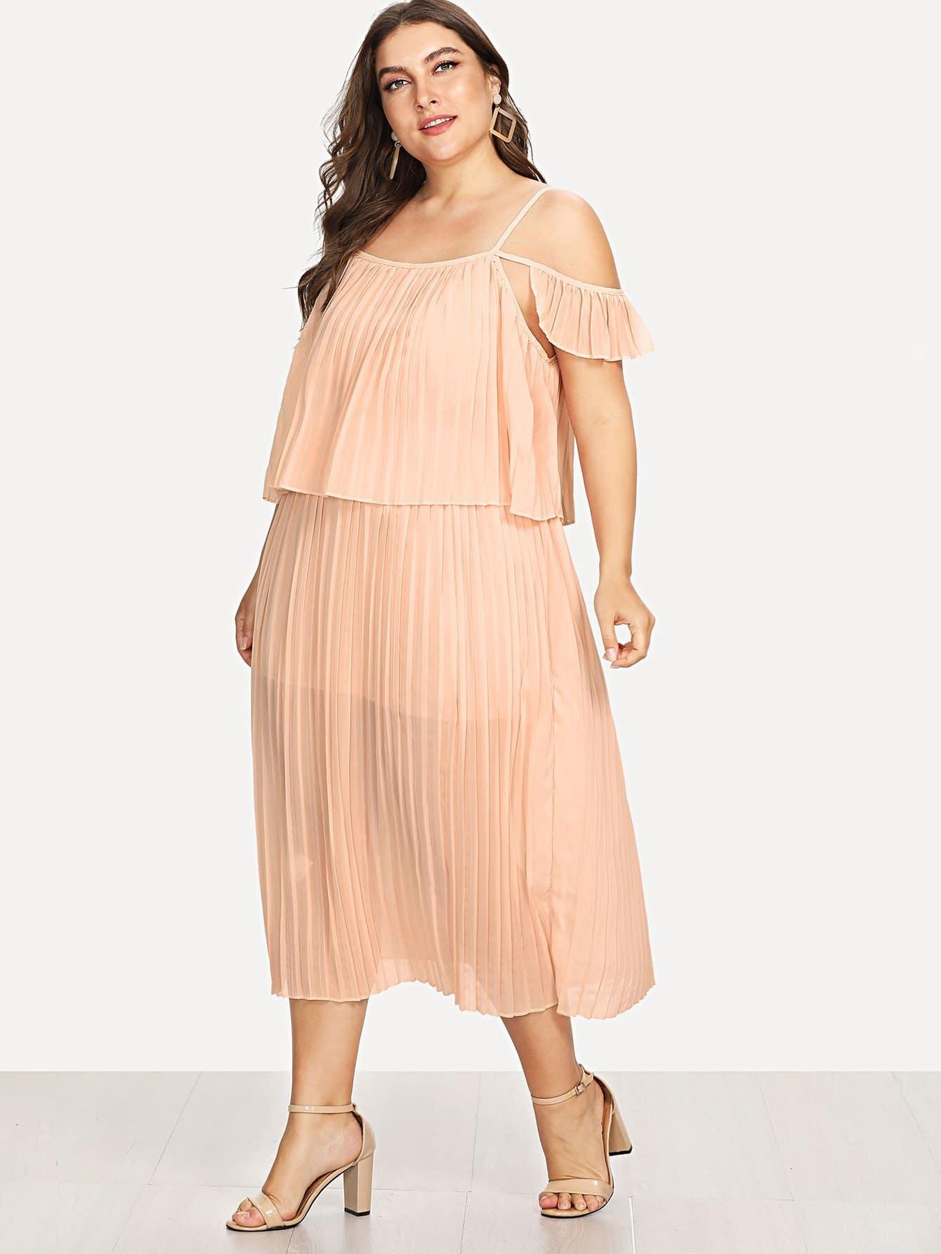 Open Shoulder Pleated Dress open shoulder printed dress
