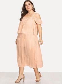Open Shoulder Pleated Dress