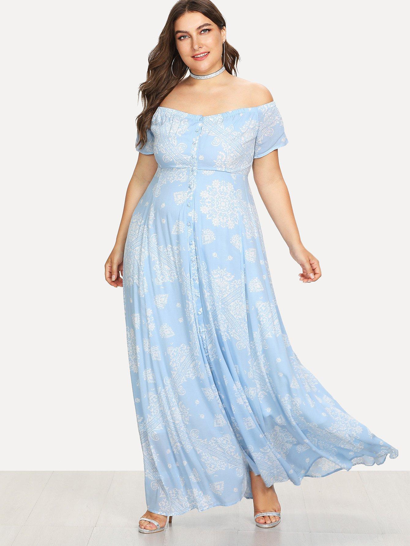 Off Shoulder Printed Flare Dress