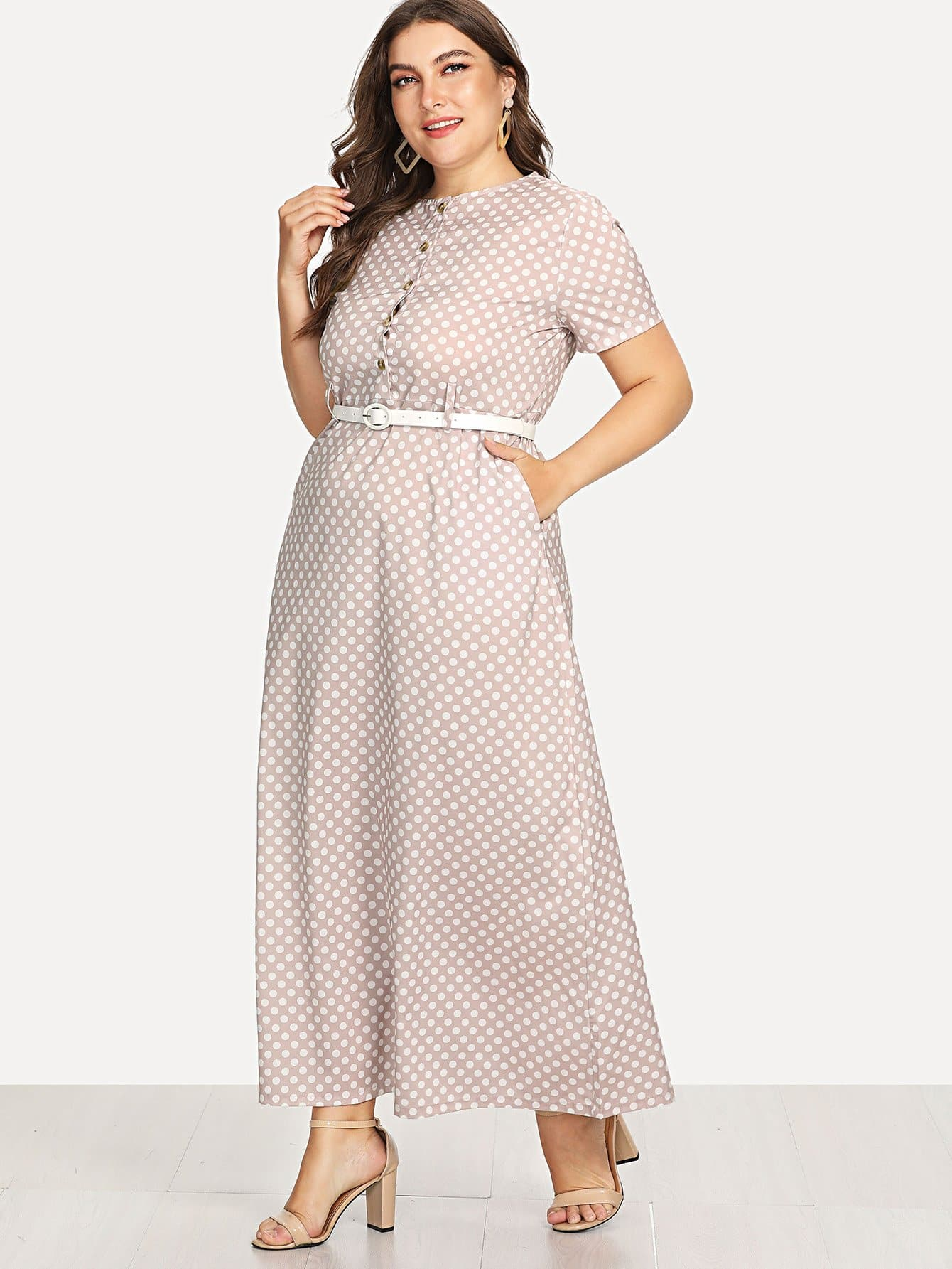 Button Front Polka Dot Belted Dress button front halterneck polka dot top