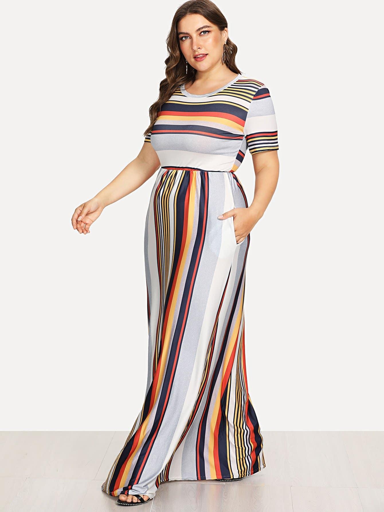 Plus Contrast Striped Hidden Pocket Dress