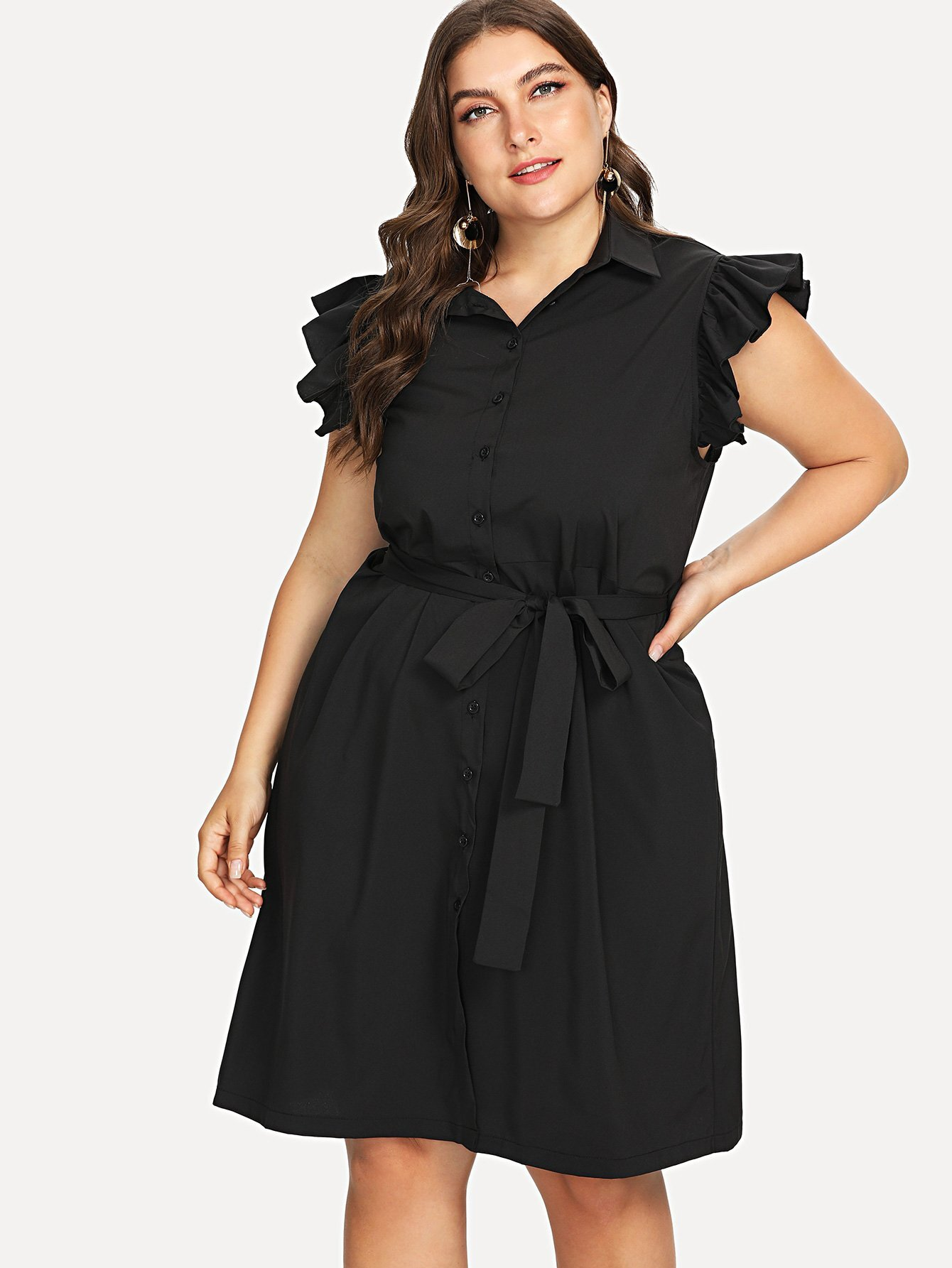 Self Tie Waist Ruffle Sleeve Shirt Dress self tie waist batwing sleeve dress