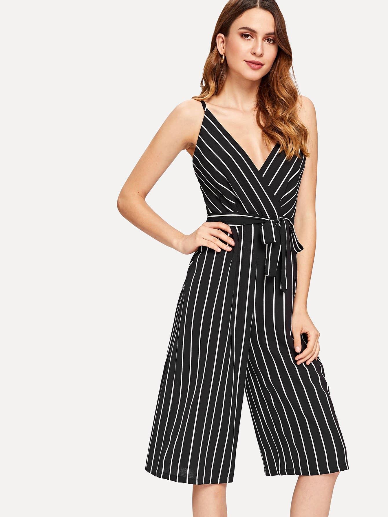 Self Tie Waist Striped Cami Jumpsuit striped ruffled waist self tie pants