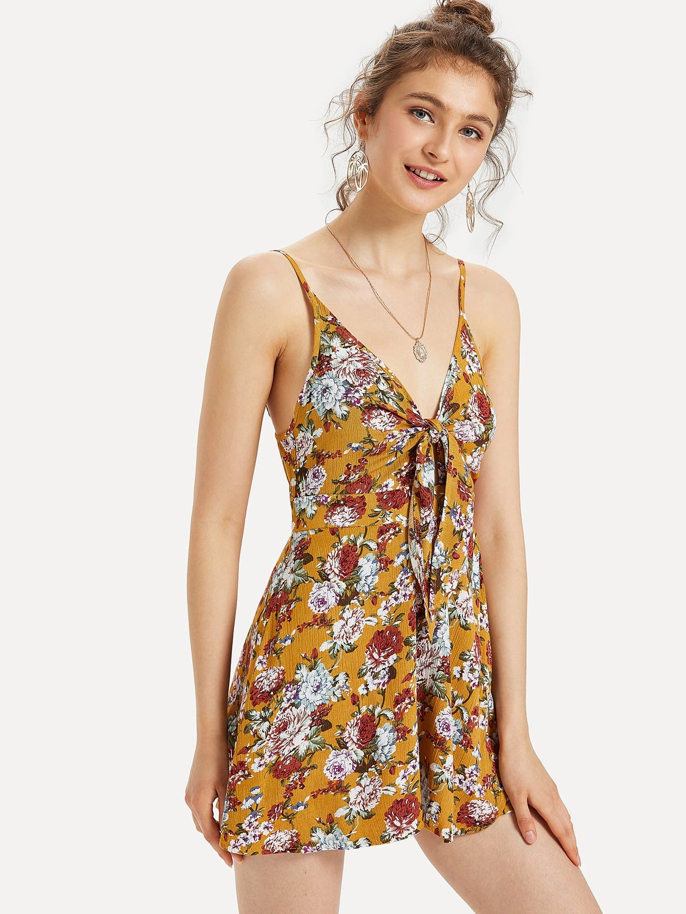 Knot Front Floral Print Cami Jumpsuit рубашка huf floral s s woven salmon floral