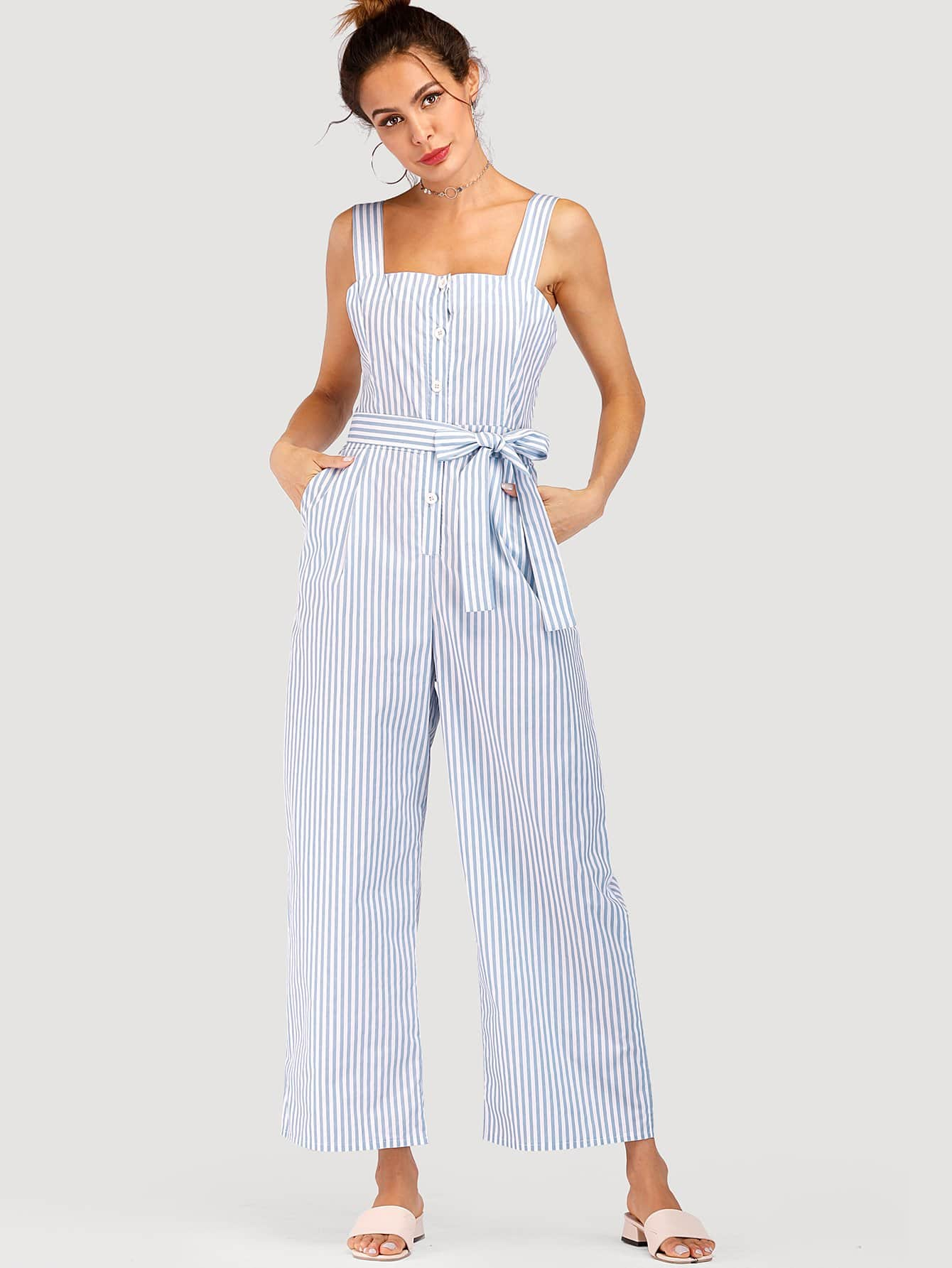 Striped Belted Wide Leg Jumpsuit shirred panel wide leg striped jumpsuit