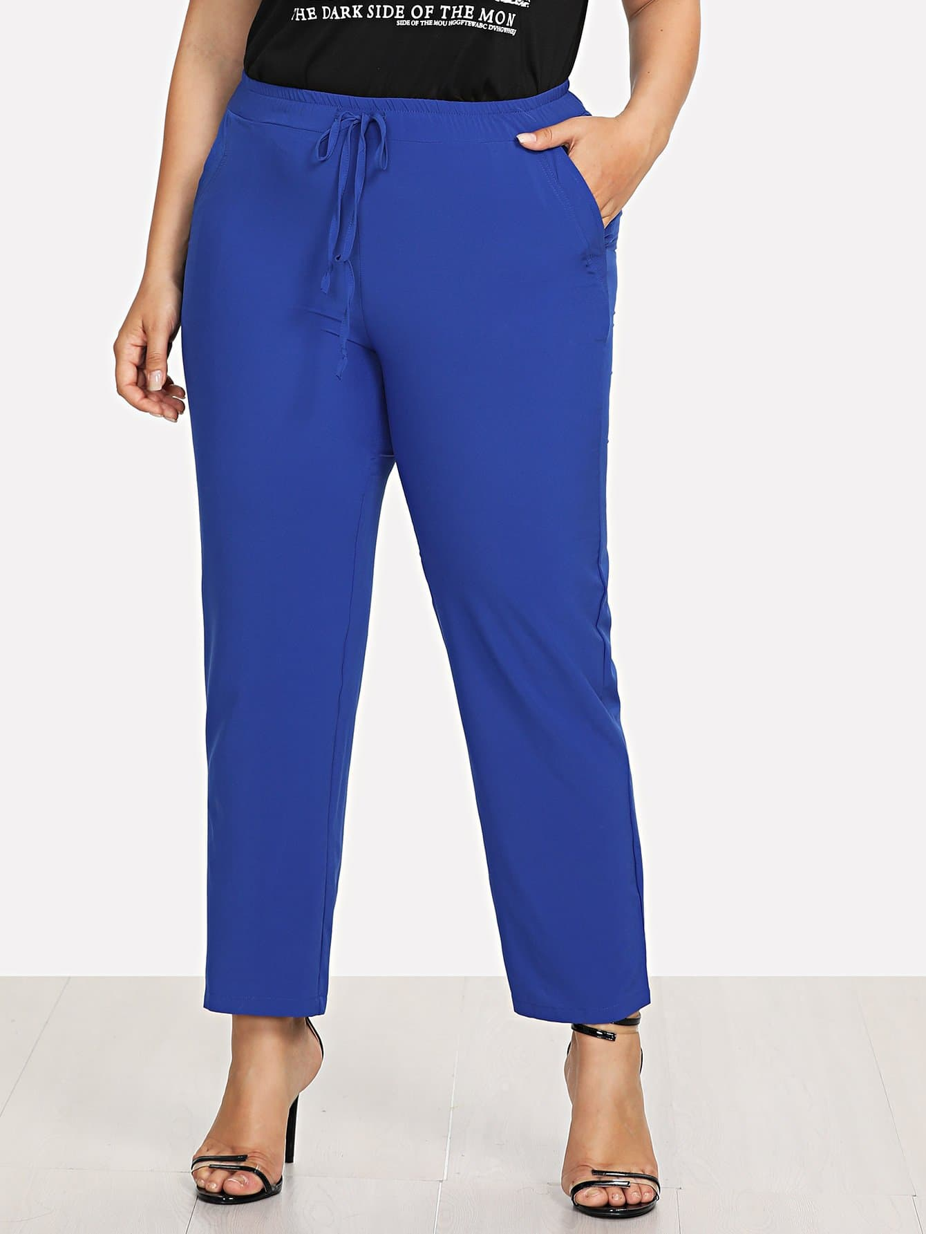 Drawstring Waist Solid Pants plus size ruffle drawstring waist gaucho pants