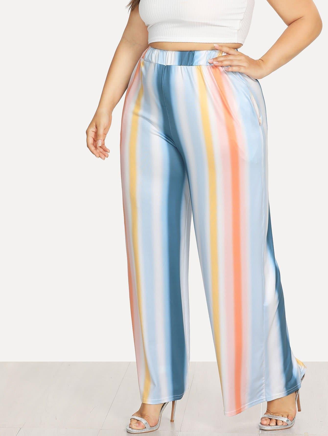 Multi Striped Wide Leg Pants alfred dunner women s wide leg pants 18w multi