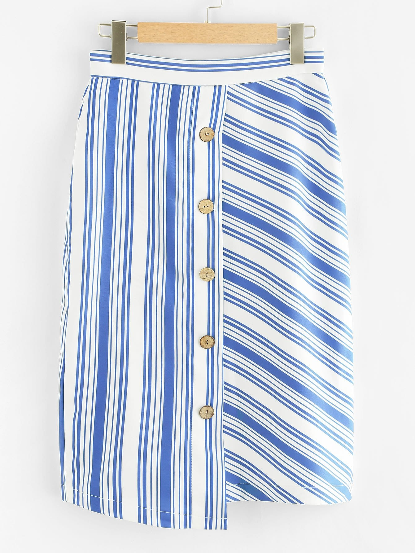 Contrast Striped Button Front Skirt multi striped skirt