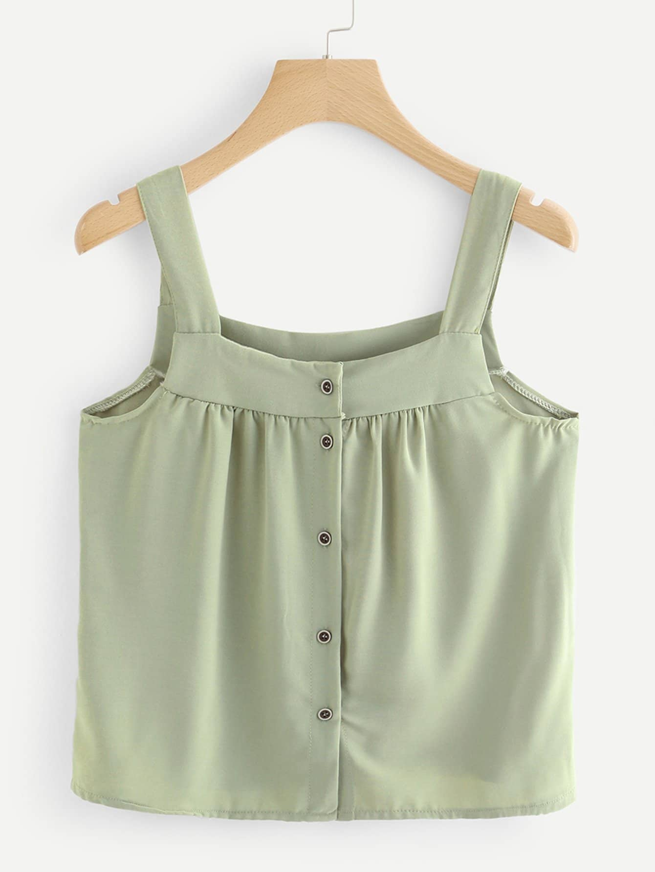 Pleated Detail Button Front Top button front frilled detail top