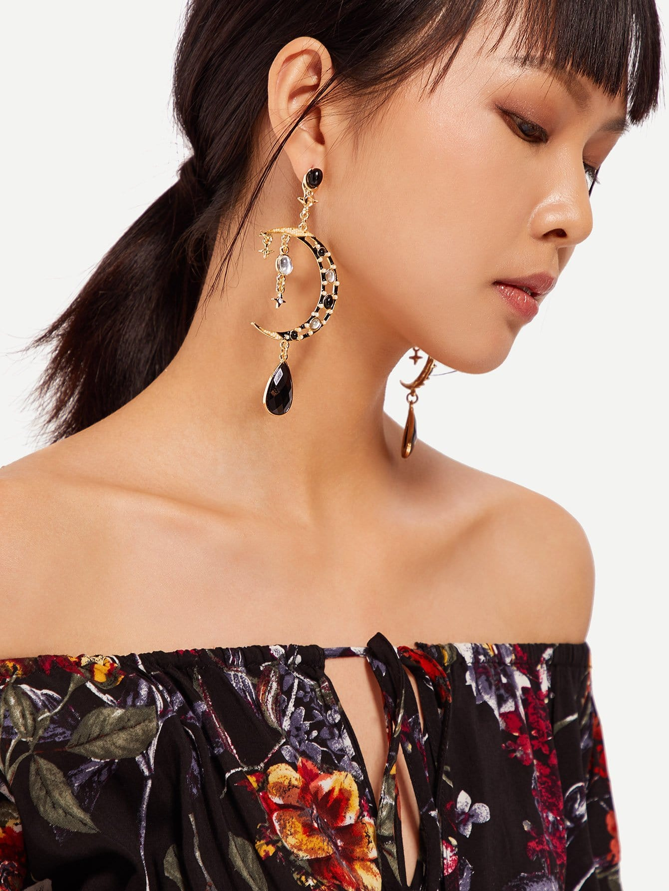 Moon Design Statement Earrings