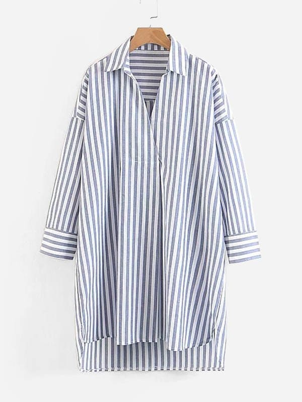 Contrast Stripe Drop Shoulder High Low Shirt Dress pushkin a the bronze horseman