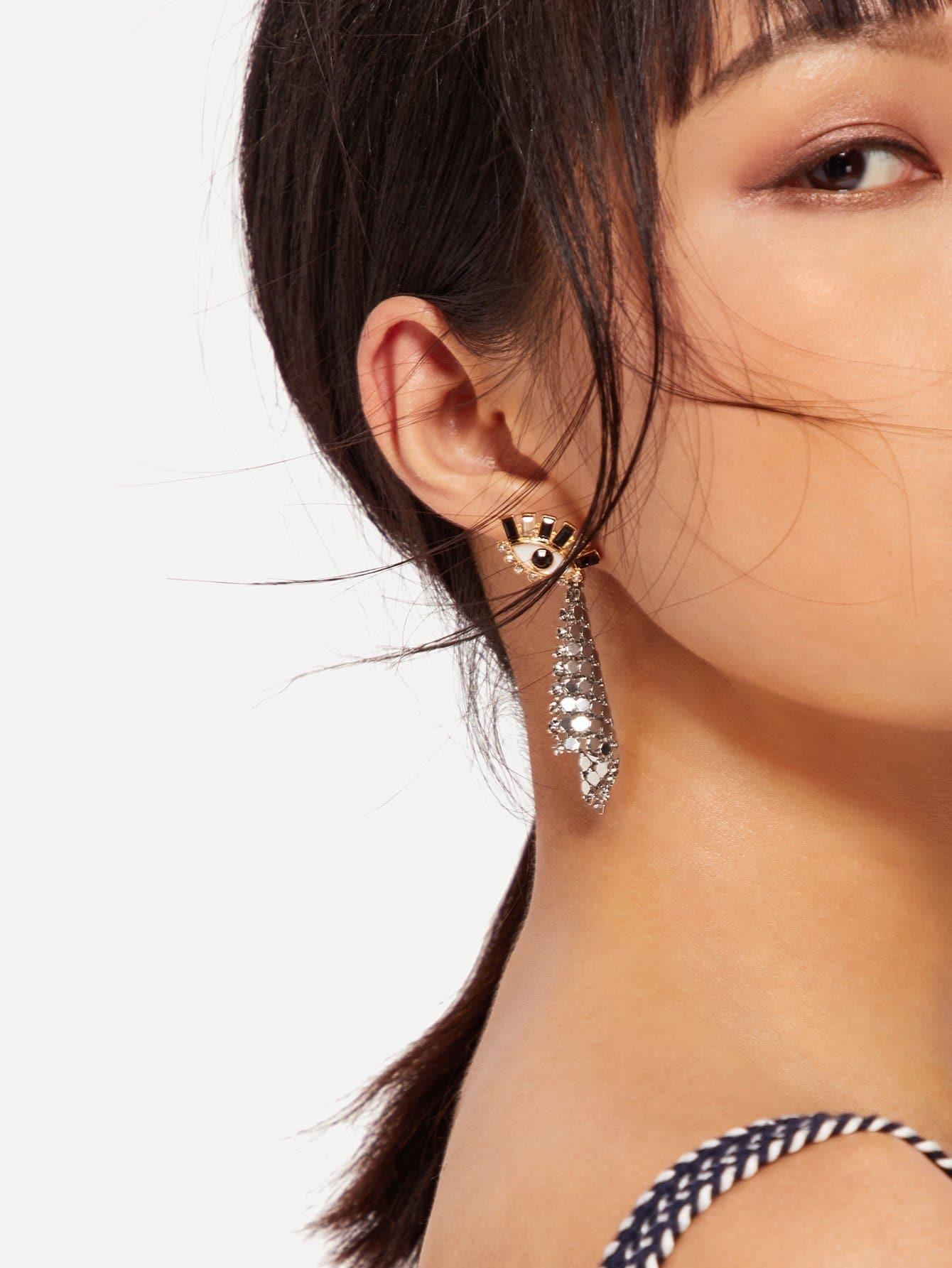 Eye Design Drop Earrings rectangle design drop earrings