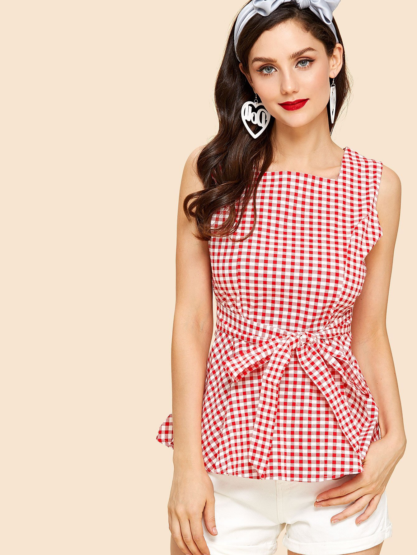 Zip Up Back Knot Plaid Top zip back stand collar plaid dress