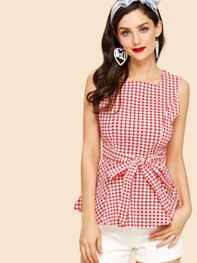 Zip Up Back Knot Plaid Top