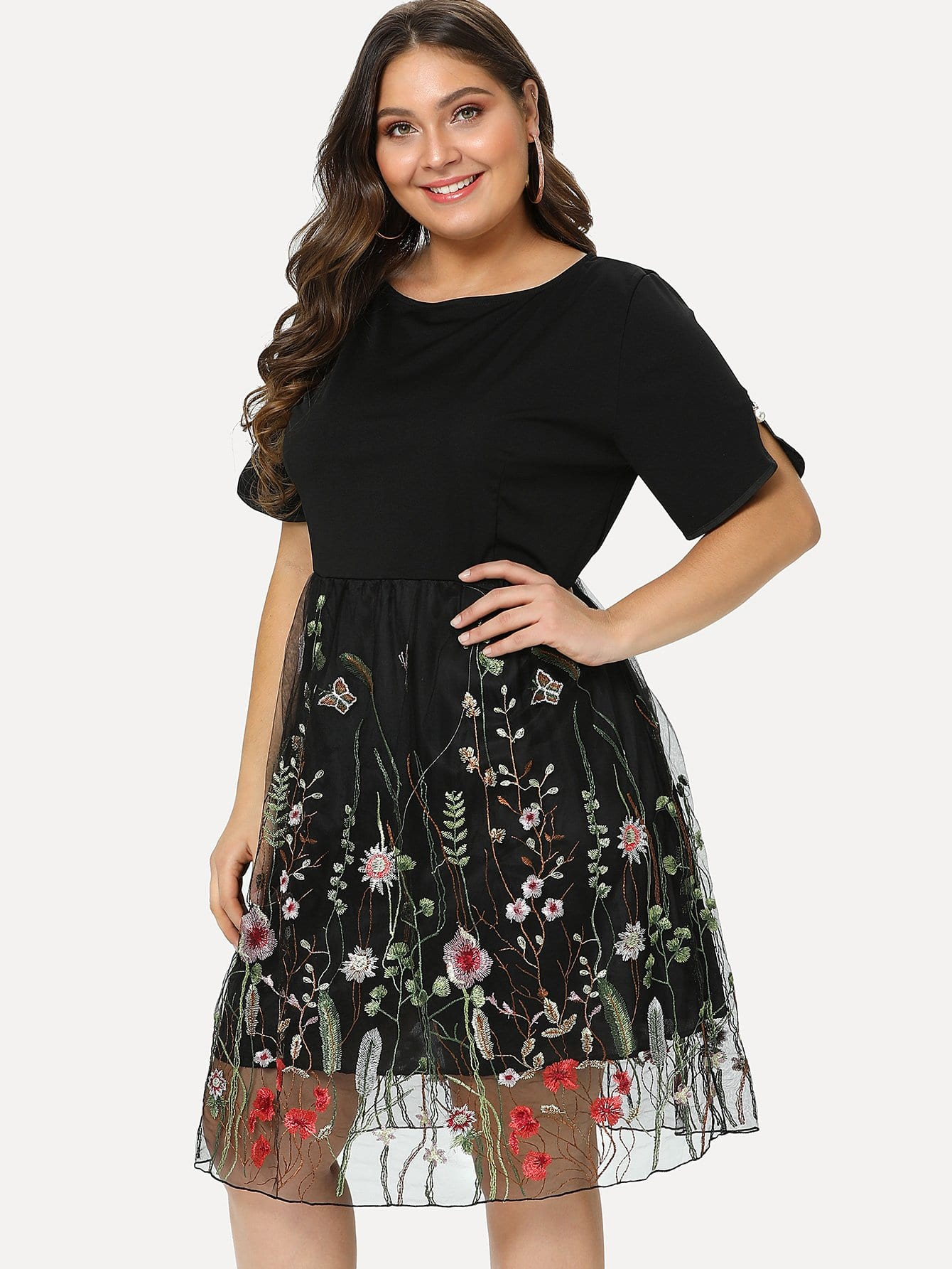 Plus Floral Embroidery Mesh Panel Dress
