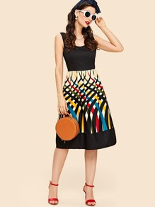 Random Geo Print Dress