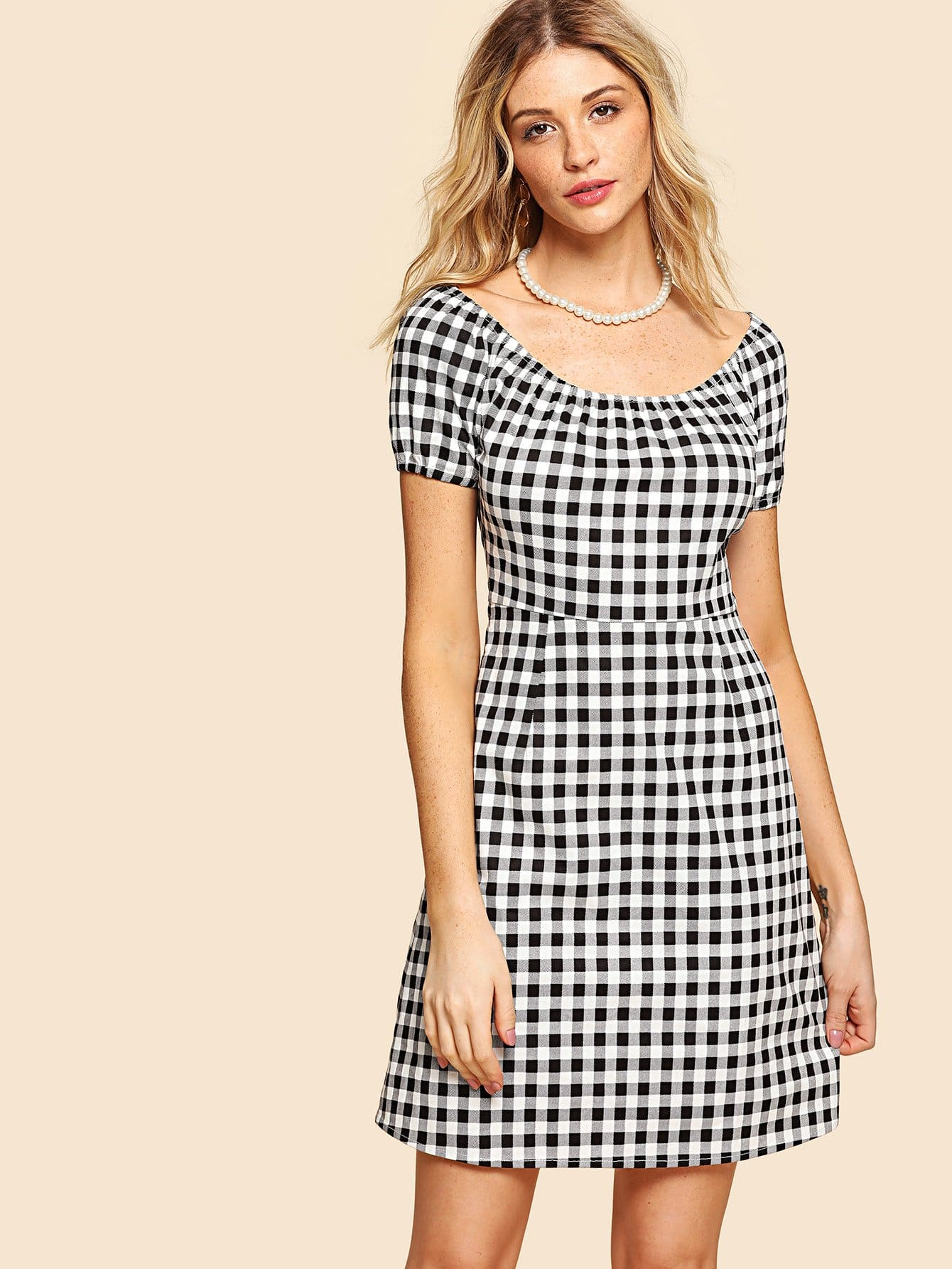 Zip Up Side Plaid Dress zip back fit and flared plaid dress