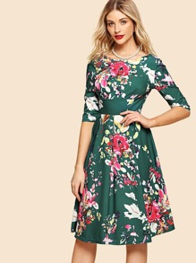 Floral Print V Neckline Back Dress