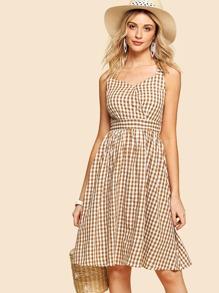 Plaid Zip Up Side Cami Dress
