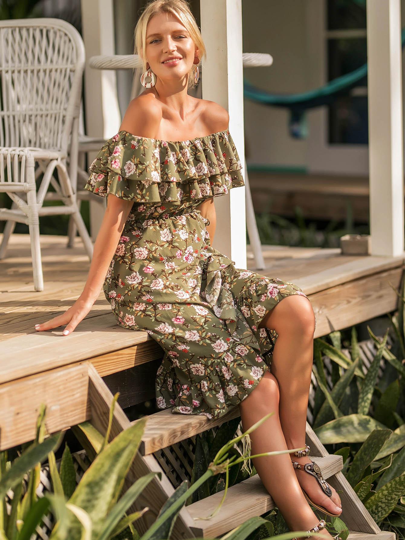 Off Shoulder Floral Print Ruffle Hem Dress sweet off the shoulder floral dress for women