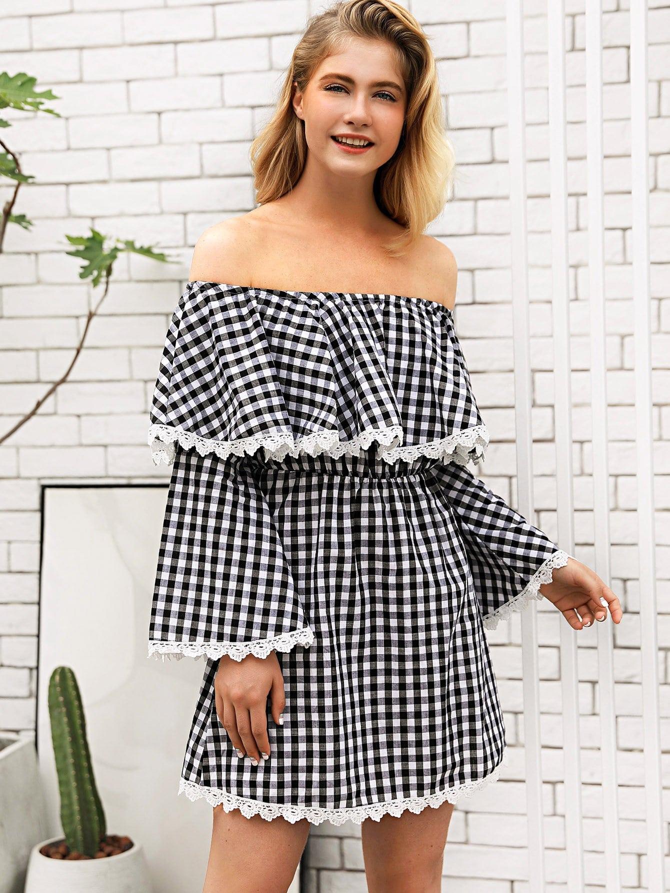 Off Shoulder Lace Panel Plaid Dress lace off shoulder dress