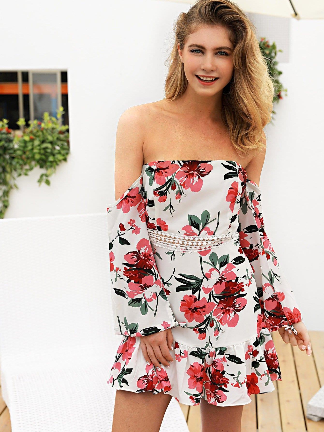 Off Shoulder Floral Print Dress sweet off the shoulder floral dress for women