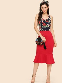Floral Print Halter Top With Ruffle Hem Skirt