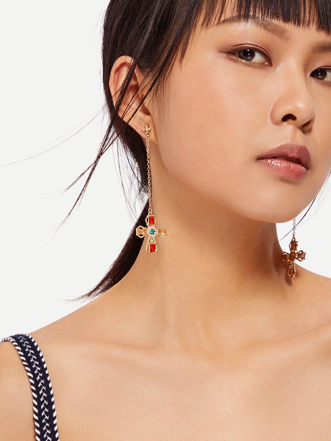 Rhinestone Cross Drop Earrings two tone cross design drop earrings