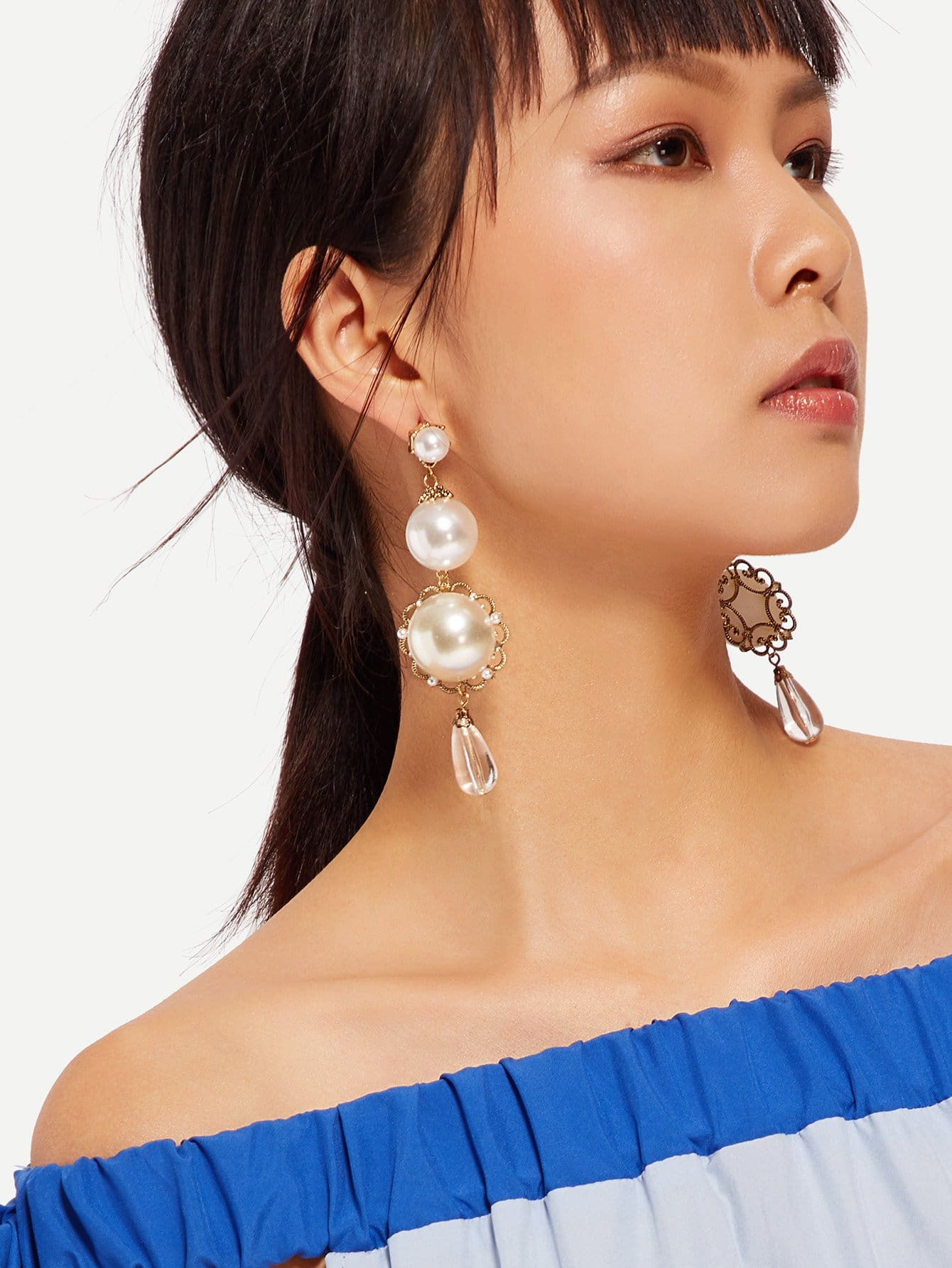 Faux Pearl Drop Earrings faux pearl rhinestoned oval drop earrings