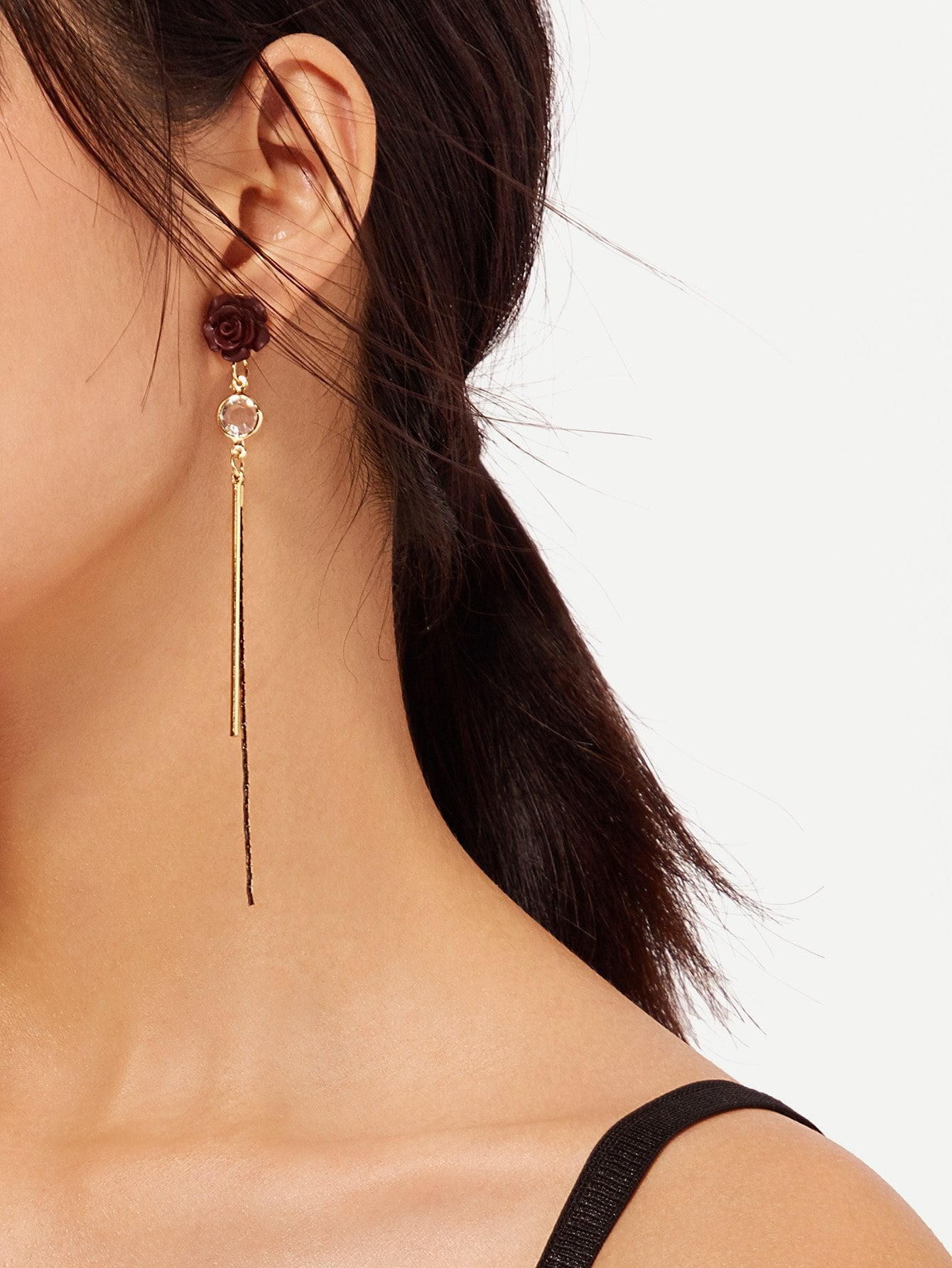 Rose And Bar Detail Drop Earrings rose drop earrings