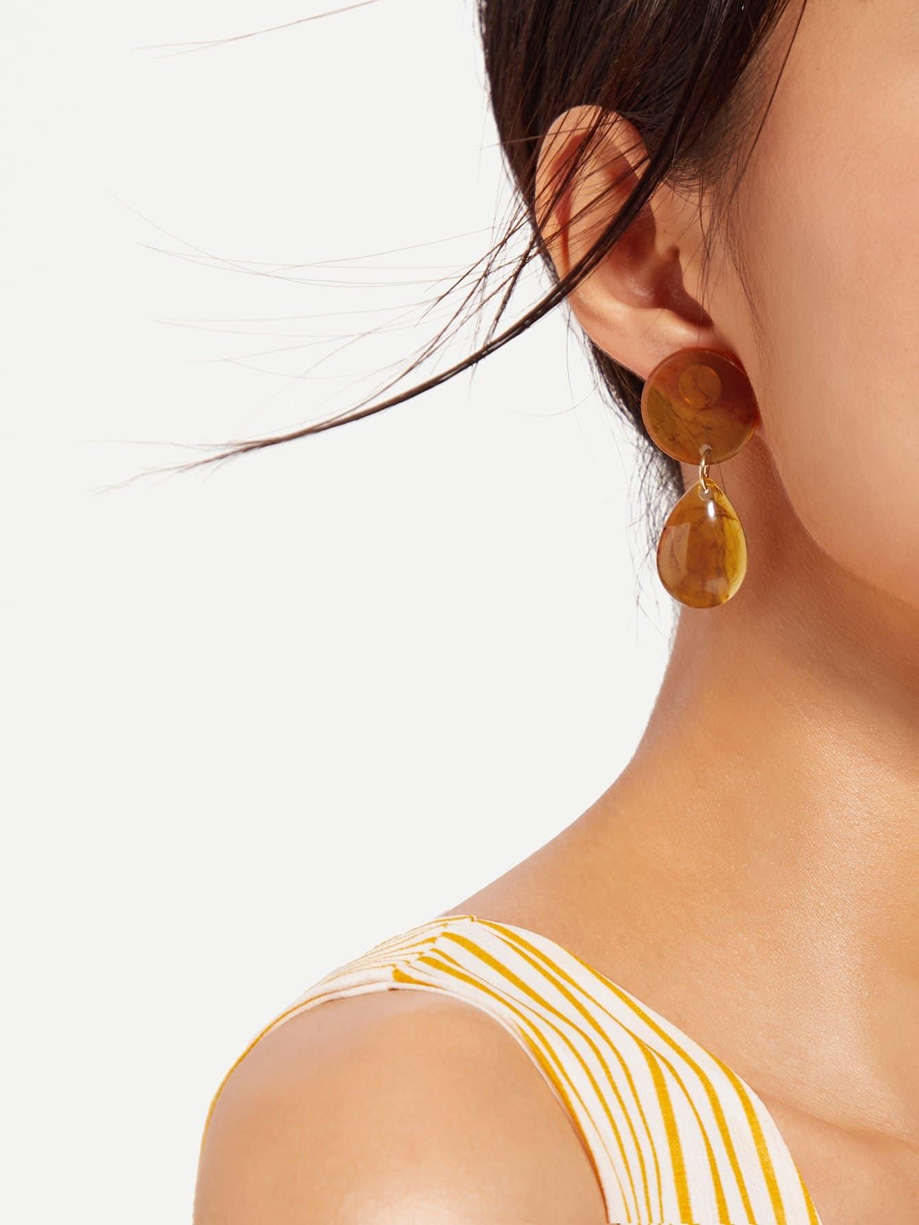 Round Shape Drop Earrings two tone round flake drop earrings