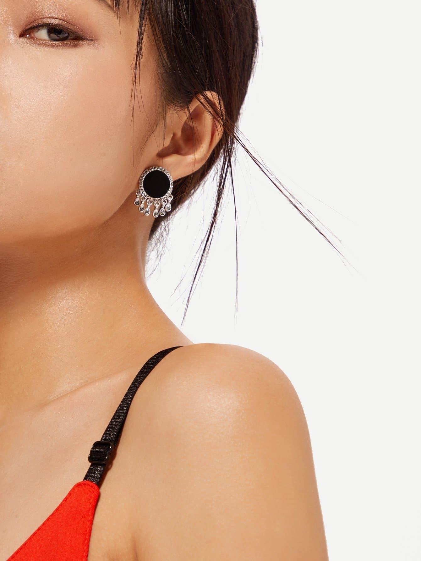 Rhinestone Tassel Drop Earrings tassel drop rhinestone detail earrings