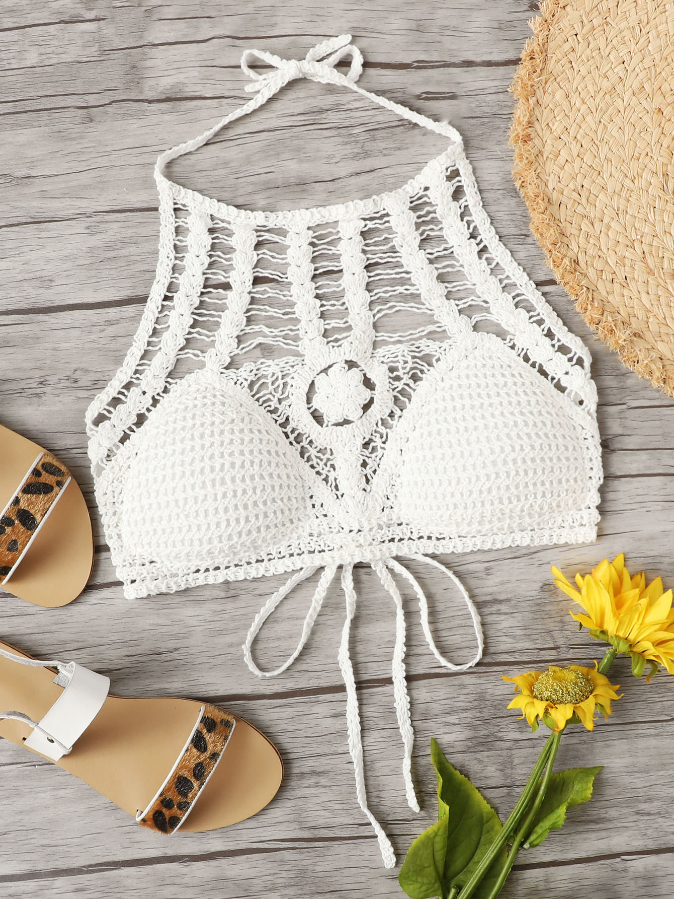 Hollow Out Crochet Halter Top chic halter butterfly pattern hollow out
