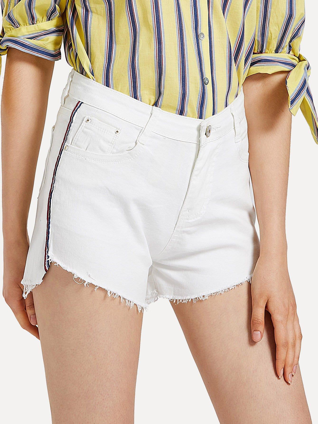 Frayed Hem Striped Denim Shorts sweet wavy hem design striped shorts for women