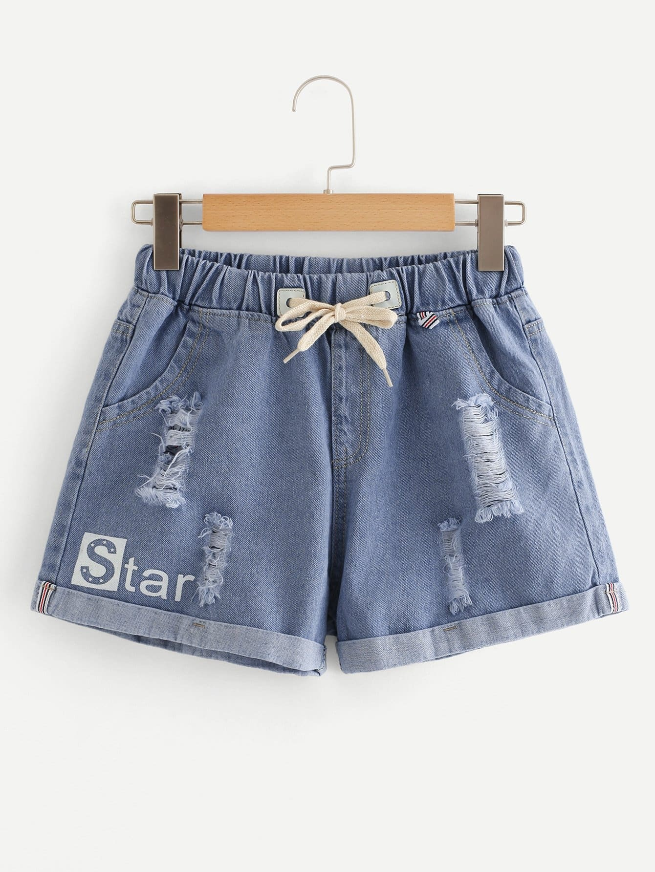 Letter Ripped Tie Waist Denim Shorts