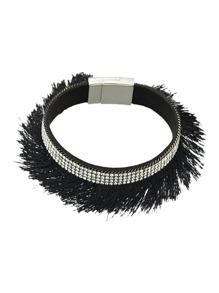 Black Pu Leather With Tassel Wrap Bracelet
